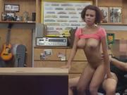 Black Beauty With Giant Jugs Bouncing In Back Office