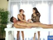 Two nasty masseuses shared clients cock