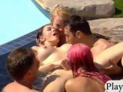 Bunch of swingers enjoyed pussy licking by the pool