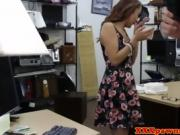 sexy brunette with glasses gets fucked in office