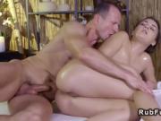 After ass massage brunette gets fucked