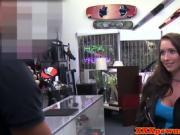 Tattooed pawnshop babe fucks for quick money