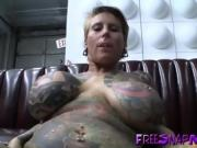 Tattooed mature fucked on pool dining table