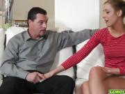 Molly Manson riding his dads matured cock on top