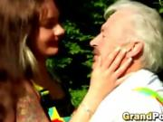 Horny grand dad break redhead teen girl virgin pussy outdoor