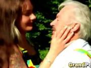 Horny grand dad break redhead teen girl virgin pussy outdoor