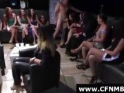 Group of CFNM amateur babes suck stripper cock