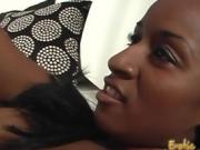 Slim ebony hottie makes her man suck and ride on her