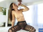 Sexy masseuse in pantyhose gets pounded by her client