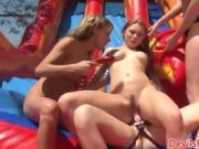 Hot Action With A Water Slide And Naked Babes Outside