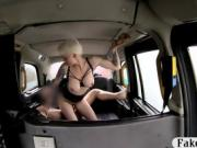 Inked babe with big boobs gets rammed by driver