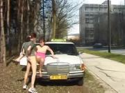 Girl Sucks Taxi Guy On Side Of Road For Fun