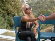 Big boobs tutor educates four nasty singles about sex