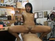 Small titted Asian babe gets pounded by horny pawn dude