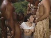 Horny White Girl Gets Gang Banged By Black Cocks In The Jungle