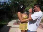 Cute Girl With Dark Hair Fucks Outdoors With A Guy