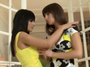Dark-haired Lesbians Finger Each Other And Use A Dildo