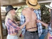 Slutty Cowgirls sucks a big dick of their friend deep
