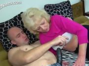 Granny gets fucked by a dildo