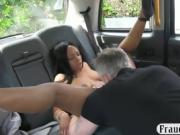 Ghetto woman gets drilled by white cock in the backseat