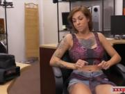 Tattooed babe with big tits gets fucked by pawnshop keeper