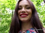 Beautiful lips Russian bangs in public