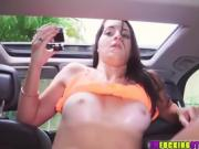 Beautiful and brunette gal Mallory gets fucked under the rain