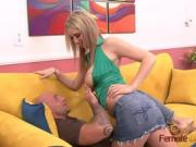 deepthroating blonde also gets fucked in shaved pussy