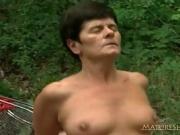 Grandma Rides A Big Cock Outdoor