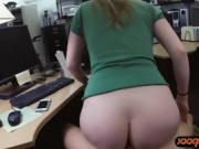 Blonde babe gives head and gets railed at the pawnshop