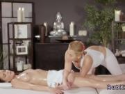 Blonde masseuse gives erotic lesbian massage