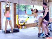 Horny Nicol Aniston wants wild trio sex in gym