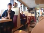 Naked in restaurant PublicFlashing.me