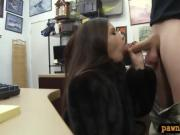 Babe sells a fur coat and gets banged at the pawnshop