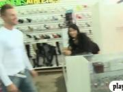Amateur women flashed big boobs and ass in shoe store