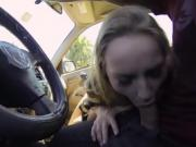 Stranded Staci blows cock of a stranger in his car