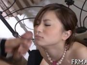 Steamy hot Japanese car blowjob