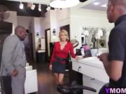 Hair stylist gets a double penetration by horny black guys