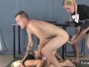 Cuties ride dudes anal with oversized strapon dildos and squi