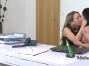 Lesbian agent fucks brunette gal