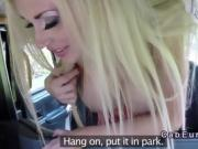 Huge tits blonde getting anal sex in cab in public