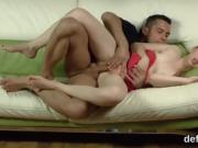 Lovesome cutie stretches spread cunt and gets deflorated