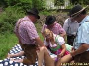Pigtailed Blonde Gets Two Cocks On Picnic Blanket