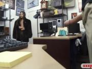 Amateur babe gets fucked by pawn keeper in his office
