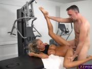 Blonde with big tits fucks the masseur after a workout