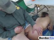 Submissive brunette fucks border agent