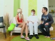 Dude assists with hymen checkup and banging of virgin chick
