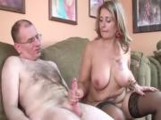 Big Breasted Milf Providing Massive Handjob To Her Neighbor
