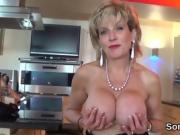 Adulterous british mature lady sonia shows off her big puppie