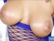 Massive juggs masseuse pleasuring cock under the table